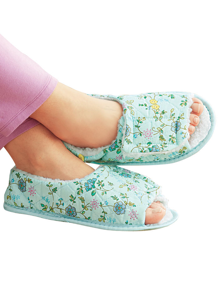 Open toe edema slipper beauty boutique online catalog shopping for cosmetics skin care for Mens bedroom slippers size 14