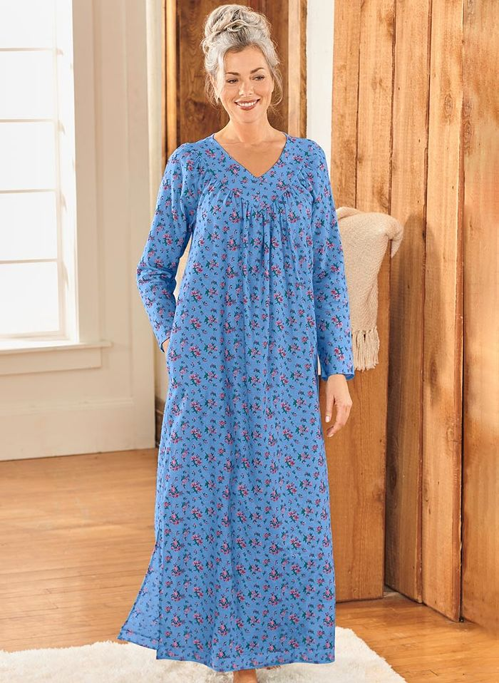 Floral Flannel Gown - Beauty Boutique - Online Catalog Shopping for ...