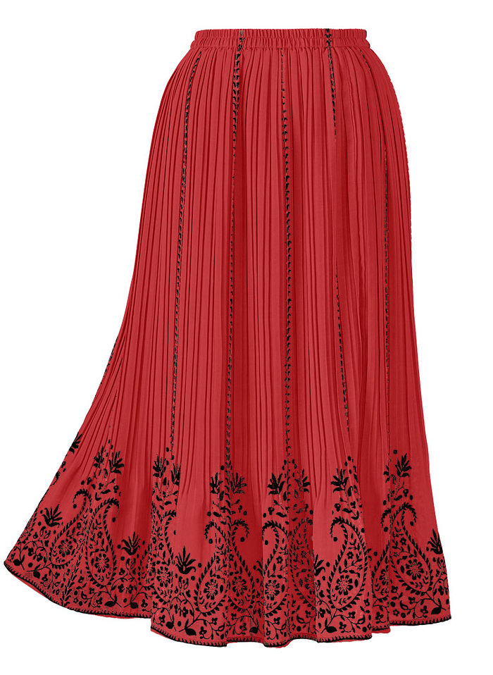 Border Print Pleated Skirt