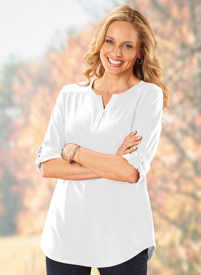 Henley Tunic with Tab Sleeves