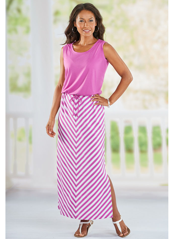 Sleeveless Mitered Maxi Dress