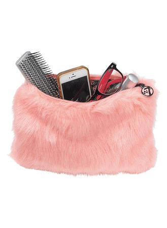 Main Coral Furry Cosmetic Bag