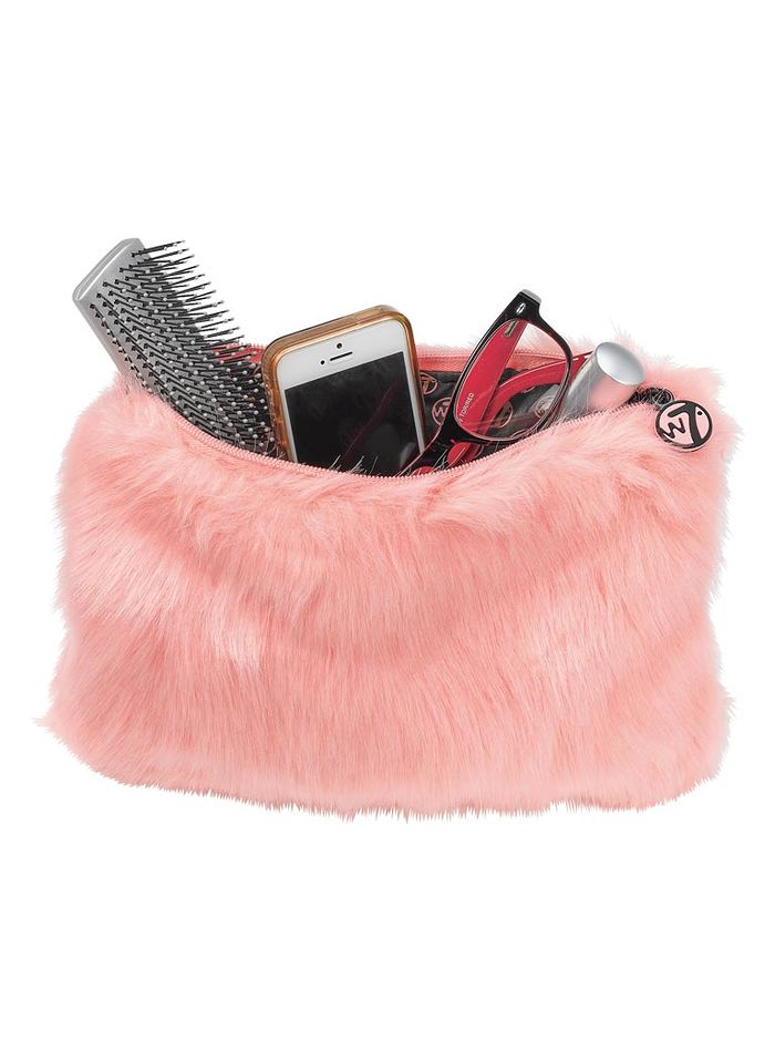 Coral Furry Cosmetic Bag