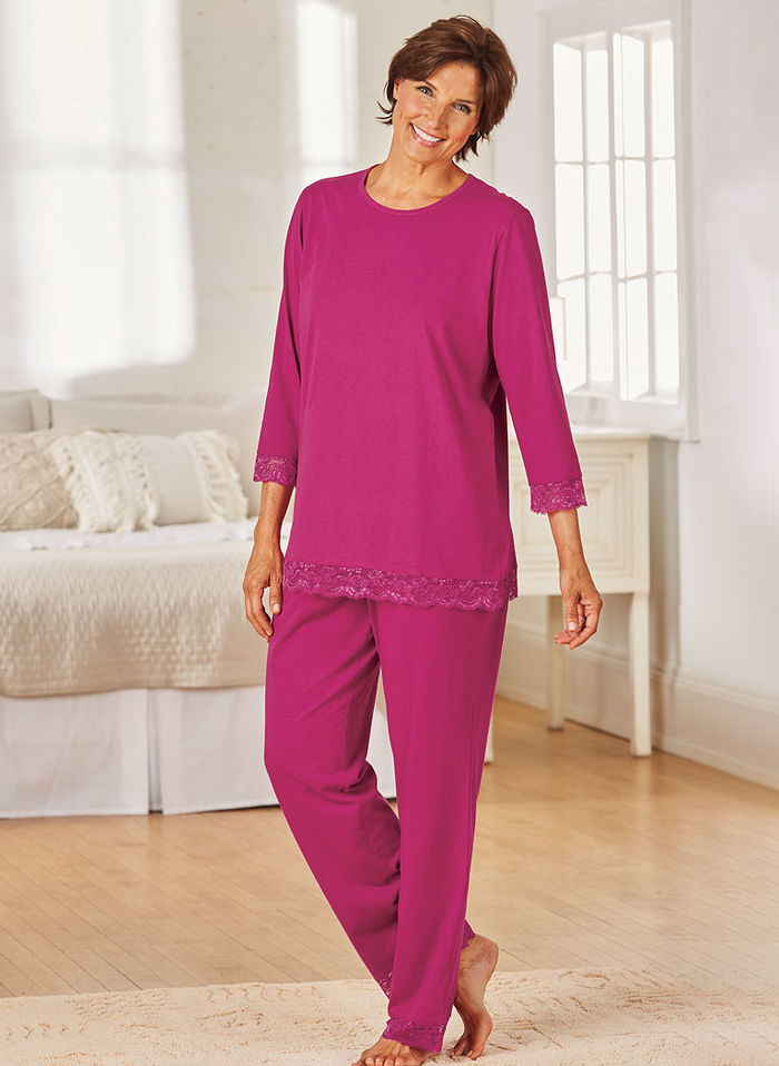 Lace-Trimmed Knit Pajama Set